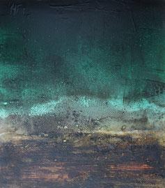 Fabien Bruttin, Dialogue entre ciel et terre, 2016-17, 40x50 cm (15.7x19.7 in), technique mixte sur MDF
