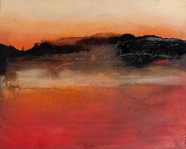 """Fabien Bruttin, """"Aube Saharienne"""", 2012, 40x50 cm (15.7x19.7 in), technique mixte sur MDF"""