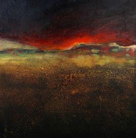 Fabien Bruttin, A la surface du volcan, 2018, 80x80cm, technique mixte sur bois.