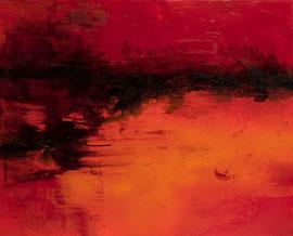 "Fabien Bruttin, ""Horizon rouge II"", 2012, 80x100 cm (31.5x39.4 in), technique mixte sur MDF"