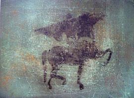 """Fabien Bruttin, """"Porte drapeau"""", 2011, 70x100 cm (27.5x39.4 in), technique mixte sur MDF"""