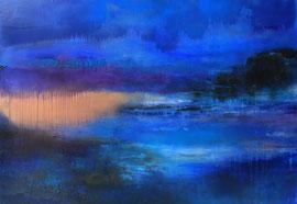 """Fabien Bruttin, """"En pensant à Monet"""", 2014, 80x100 cm (31.5x39.4 in), technique mixte sur MDF"""
