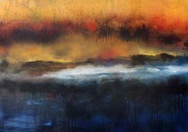"""Fabien Bruttin, """"Ile crépusculaire"""", 2014, 70x100 cm (27.5x39.4 in), technique mixte sur MDF"""
