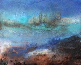 """Fabien Bruttin, """"Le retrait de l'orage"""", 2014, 40x50 cm (15.7x19.7 in), technique mixte sur MDF"""