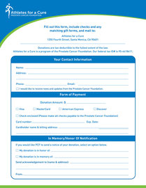 Pledge Form for Prostate Cancer Foundation