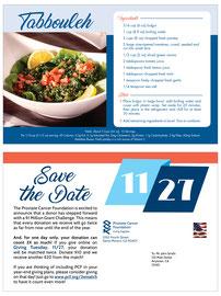 Recipe Card Mailer for Prostate Cancer Foundation