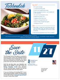 Recipe Card Mailer for Prostate Cancer Foundation
