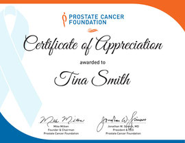 Thank You Certificate for Prostate Cancer Foundation