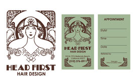 Logo and Business Card Designs for Head First Salon