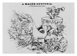Caricatura del estreno de Titán en Budapest (1889)