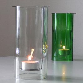 """Windlicht """"Puck"""" aus Altglas und einem Edelstahleinsatz"""