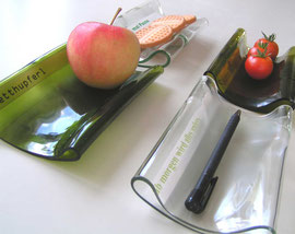 """Schale """"Flaschenpost"""" aus recycletem Flaschenglas"""