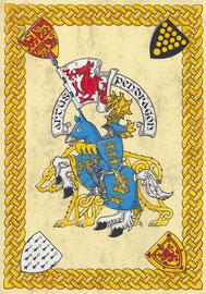 Meine Interpretation von König Artus, Aquarellfarben auf marmoriertem Papier