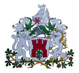 Aufwändige Ausführung des Wappens T., nach Wünschen des Stifters