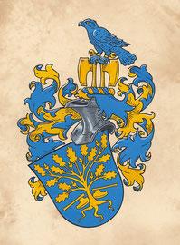 Familie H., Aquarellfarben auf marmoriertem Papier