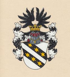 Familie F., Aquarellfarben auf marmoriertem Papier