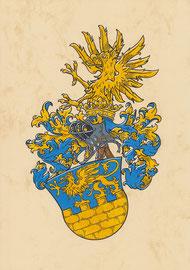 Familie v. B., Aquarellfarben auf marmoriertem Papier