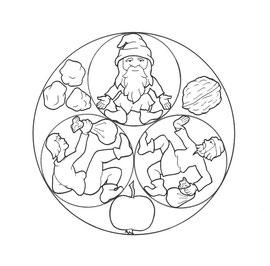 Ausmalvorlage für ein Märchen-Arbeitsbuch des Don Bosco Verlages (Die Geschenke des Zwergleins)