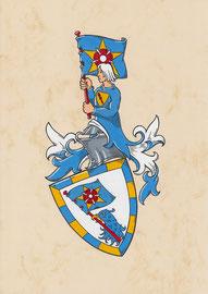 Familie T., Aquarellfarben auf marmoriertem Papier; Neustiftung