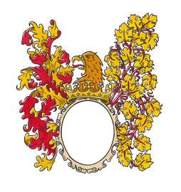 Wappenkartusche für ein Weinetikett