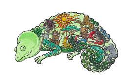 Das Chamäleon ziert den Einband eines Buches mit Märchen aus Madagaskar