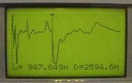 Вид экрана при измерении расстояния до места короткого замыкания на расстоянии 947,65 метров