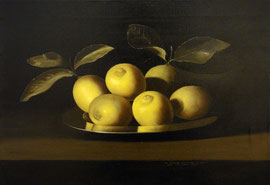Bodegón de limones, de Juan de Zurbarán (Real Academia de Bellas Artes de San Fernando, Madrid) 58 x 35 cm, óleo sobre lienzo, 2010