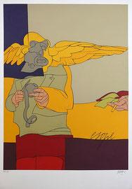 """Valerio Adami """"Esope"""" Lithographie  99.6 x 69.8 cm signé, numéroté sur 100"""