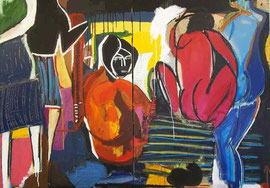 "SO FU(Frank Schroeder)-mixed media on canvas-""house party""-45,28x63,78 in--contemporary art gallery french riviera-Biot"