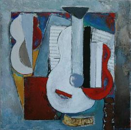"Anne Arnaud-Huile sur toile-80X80cm-""guitares""Gabel-Galerie d'art Biot-Valbonne-Antibes"