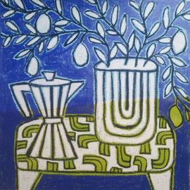 "Gordon Hopkins 100X100cm- ""coffee pot with lemon tree in blue"" huile sur toile -Galerie Gabel Biot"