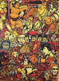 Karen Joubert acrylique sur toile Pop 160X120cm visite d'atelier sur rendez-vous avec la galerie Gabel