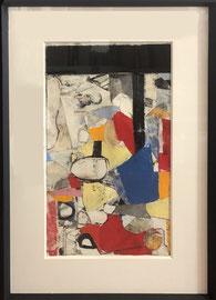 Robert Szot, techniques mixtes sur papier (gravures, pastel, collage, huile)  40X56cm -Galerie d'art côte d'Azur, Biot