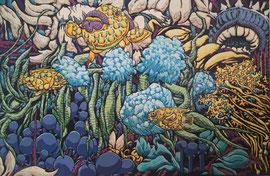 Karen Joubert acrylique sur toile 120X80cm-réalisation d'oeuvres sur commande