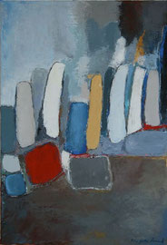 "Anne Arnaud-Huile sur toile-73X50cm-""bouteilles""Gabel-Galerie d'art Biot-Valbonne-Antibes"