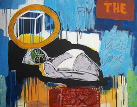 "SO FU(Frank Schroeder)-mixed media on canvas-""the blue box""-27,56x35,43 in--contemporary art gallery french riviera-Biot"