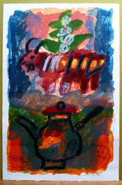 """THEO TOBIASSE """"Bucolique a la theiere"""" lithographie, signée ,numérotée (encadrée).Galerie d'art Biot, côte d'azur"""
