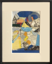 Robert Szot, techniques mixtes sur papier (gravures, pastel, collage, huile)  47X35cm -Galerie d'art côte d'Azur, Biot