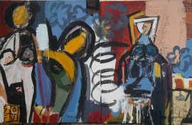 "SO FU (Frank Schroeder)""easy opening"" mixed media on canvas (diptych) 23.6 x 37.8 x 1.6 in- art gallery french riviera Biot"