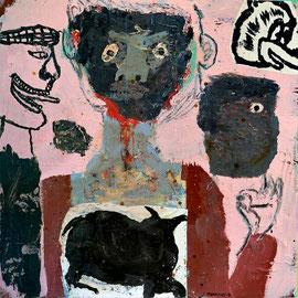 """Lyle Carbajal-""""Lo tengo"""" 88X88cm- technique mixte sur bois.Galerie d'art-côte d'Azur-Cannes-Nice-Monaco-Biot"""