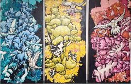 karen Joubert acrylique sur toile triptyque. 3X 50X100cm visite d'atelier sur rendez-vous avec la galerie Gabel