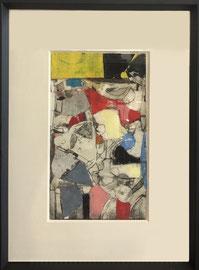 Robert Szot, techniques mixtes sur papier (gravures, pastel, collage, huile)  43X32,5cm -Galerie d'art côte d'Azur, Biot