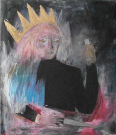 MARIA WINDSCHÜTTEL     HOHEIT MIT DIV. WERKZEUG    2015    ACRYL, PASTELS AUF CANVAS  80 x 65 CM