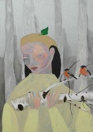 MARIA WINDSCHÜTTEL   OHNE TITEL   2016   ACRYL, PASTELS AUF CANVAS  70 x 50 CM