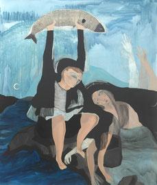 MARIA WINDSCHÜTTEL   FISH EUPHORIA (VISION)   2016   ACRYL, PASTELS AUF CANVAS  120 x 100 CM