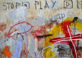 TOBIMANN   PLAY REWIND     ACRYL, ÖL UND ÖLKREIDE AUF LEINWAND  100 x 140 CM   2015