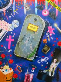 ROMAN FRECHEN  GOTHIC GIRL PHONE, ÖL, GLITZER AUF LEINWAND, 140 X 115 CM, 2015