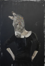 """LYDIA BALKE """"AND THE ASS SAW THE ASSHOLE""""  2016  160 X 110 CM   OIL ON CANVAS"""