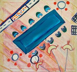 """OKKA-ESTHER HUNGERBÜHLER  """"LEERES RESTAURANT VON OBEN""""  WACHSKREIDE/TEMPERA/ACRYL AUF BAUMWOLLE, 90 X 95 CM, 2016"""