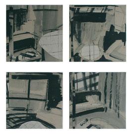 Innenräume, je 50/50cm, Mischtecknik Papier auf Leinwand, 2007